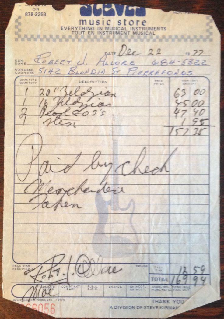 Steve's Music Store invoice, 1977  51 Rue Saint Antoine Ouest Montréal, QC, Canada