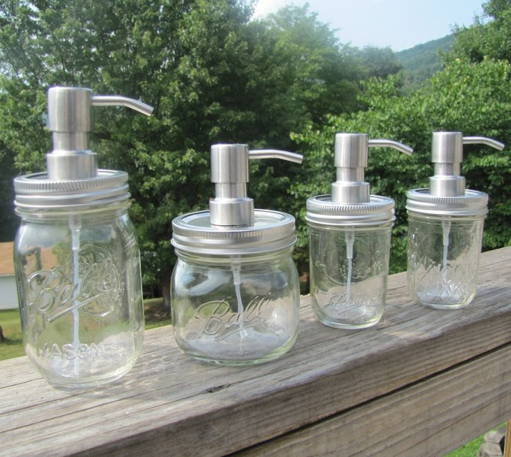 Ball Mason Jar FOAMING Hand Soap Dispenser with Stainless Steel Pump - 8oz, 16oz, Regular & Elite - SALE - Buy 3 or More, Get 1 Free by CraftInnovation on Etsy https://www.etsy.com/listing/162506723/ball-mason-jar-foaming-hand-soap