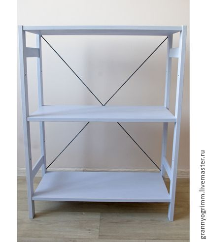 Нежно-голубой стеллаж в стиле шебби шик.  Light blue shabbi chic shelve stand.
