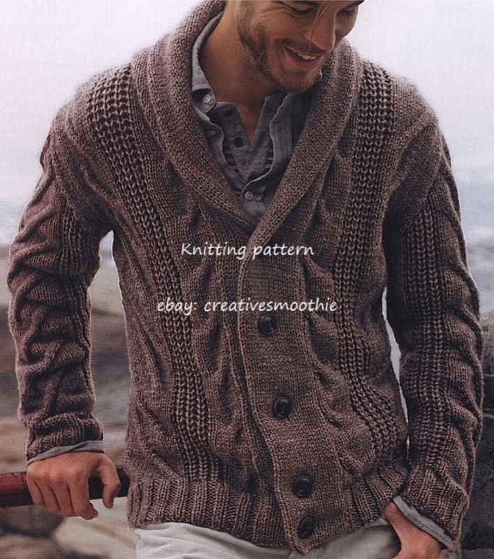Free Knitting Patterns For Mens Cardigans : Details about (536) Chunky Knitting Pattern for Mens Cable Cardigan Chunky ...