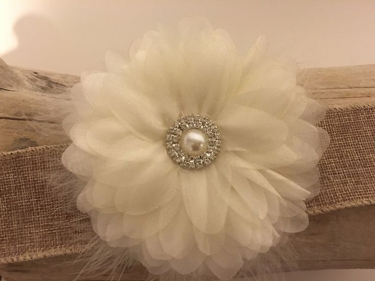 Bridal Ivory Hair Flower Clip from my Etsy shop https://www.etsy.com/listing/468162127/bridal-hair-flower-ivory-organza-pearl