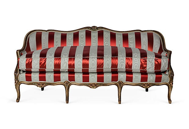 We fell in love with this red and white silk satin settee when we saw it in Kelly Wearstler's warehouse!Stripes White, Antiques Stripes, Stripes Red, Stripes Settees, Satin Antiques, Products, Satin Settees
