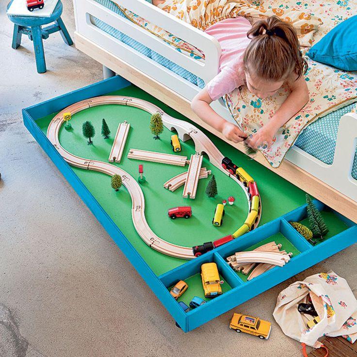 Tiroir de jeu et rangement sur roulettes pour enfants