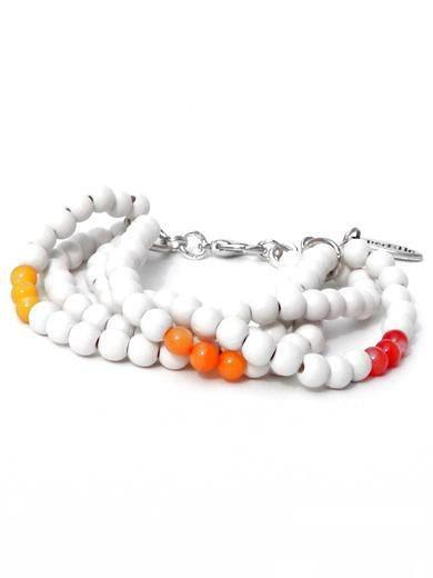 Armband met witte houten kralen en oranje en gele halfedelsteenkralen van PerElle op Etsy