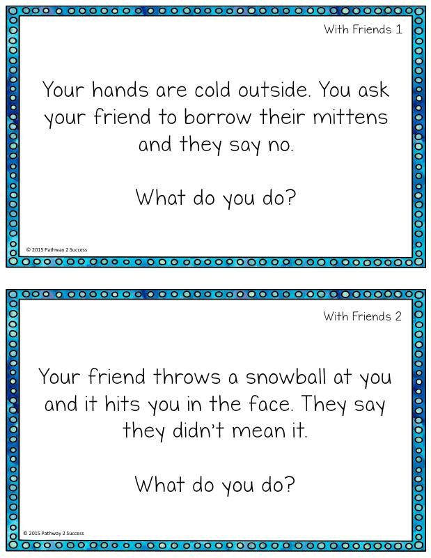 Winter social skills task cards. Fun task cards with a winter theme.