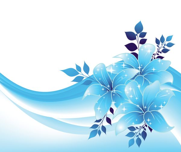 Blue Decoration With Flowers PNG Transparent Clipart