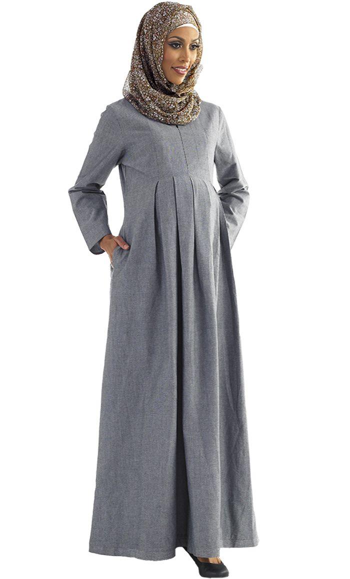 Hafiza Chambray Pleated Maternity Abaya Price: $29.99 Sku ID : AJM11