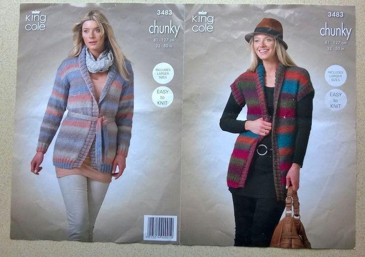 King Cole 3483 Knitting Pattern Leaflet Lady s Chunky Cardigan and Waistcoat