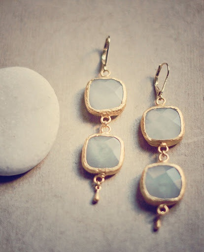 Wedding bridal Jewelry milky white greyish Chalcedony stone gold frame LONG bold simple elegant earrings