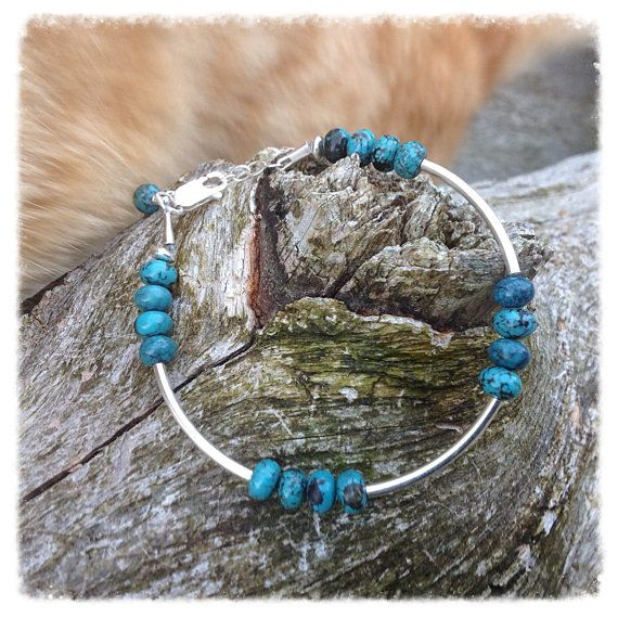 Sterling silver and turquoise bead bracelet  by HENjewellery, €32.00