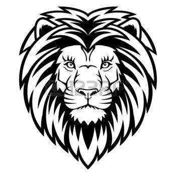 leone: Una testa di leone logo in bianco e nero. Questo è ideale illustrazione vettoriale per una mascotte e tatuaggio o T-shirt grafica. Vettoriali