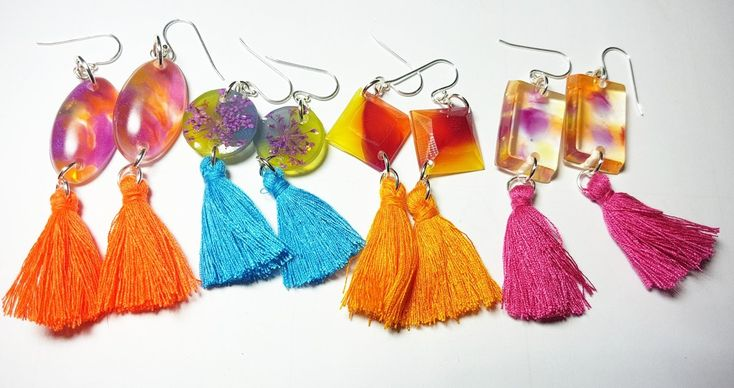 Handcrafted Resin pieces with tassels!