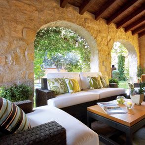 Love this!: Gardens Seats, Outdoor Rooms, Outdoor Patio, Covered Patios, Outdoor Fire Pit, Outdoor Living Rooms, Outdoor Spaces, Stones Patio, Patio Ideas