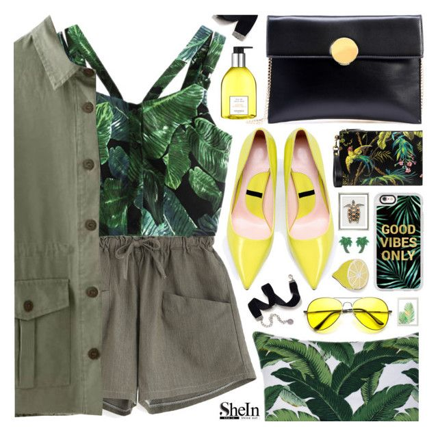 """""""Tropical prints"""" by pastelneon ❤ liked on Polyvore featuring Gucci, William Stafford, Casetify, Sweet Romance, Big Bud Press and Hermès"""