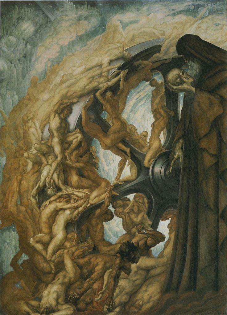 """Jean Delville: """"La rueda de la Fortuna"""" (The Wheel of Fortune), 1940"""