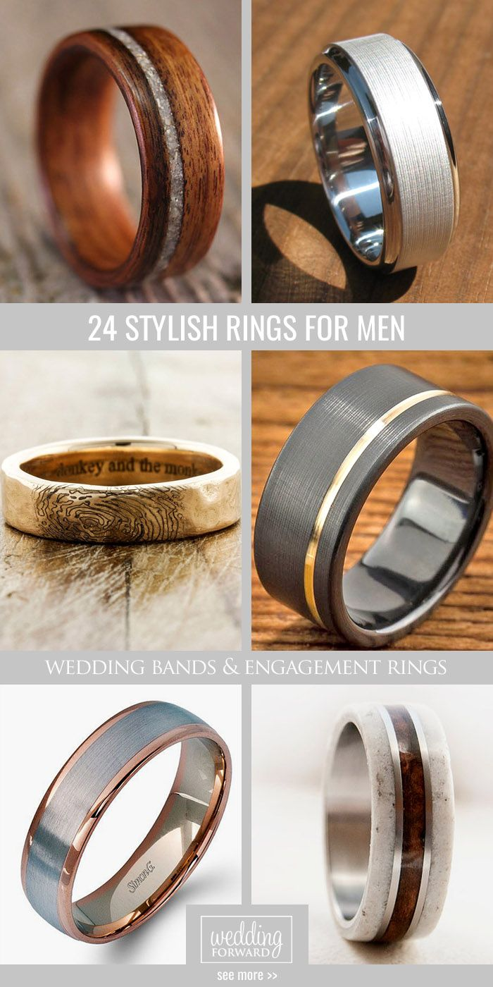 24 Mens Wedding Bands And Engagement Rings ❤ More and more jewellery's designers create not only mens wedding bands, but also mens engagement rings. See more: http://www.weddingforward.com/mens-wedding-bands-engagement-rings/ #wedding #bands #mens #engagement