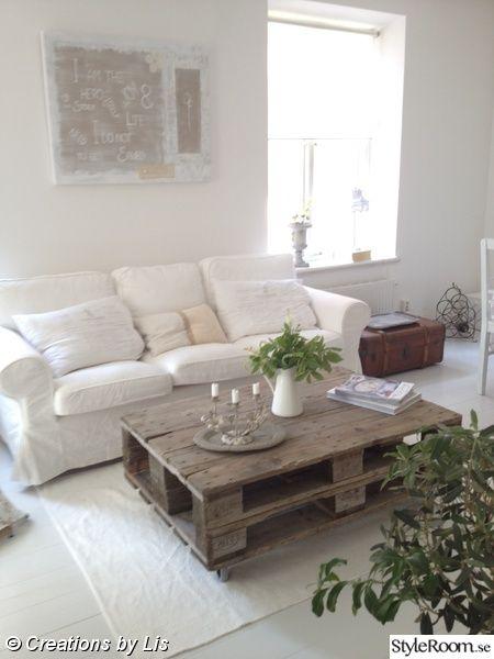 soffbord,lastpallar,vardagsrum,shabby chic,romanticsweden.se