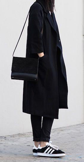 all black look // coat suede bag, cropped pants & adidas sneakers #style #fashion #streetstyle