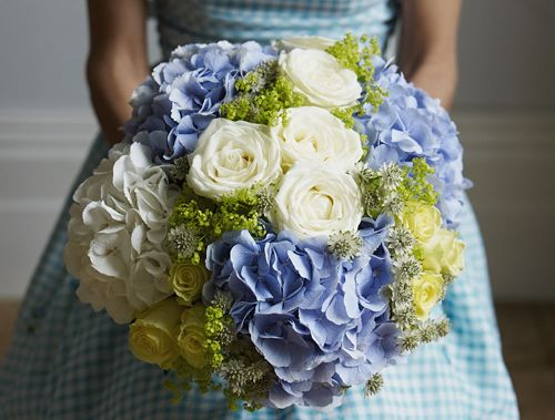 Blue And White Hydrangea Rose Bouquet By Jane Packer