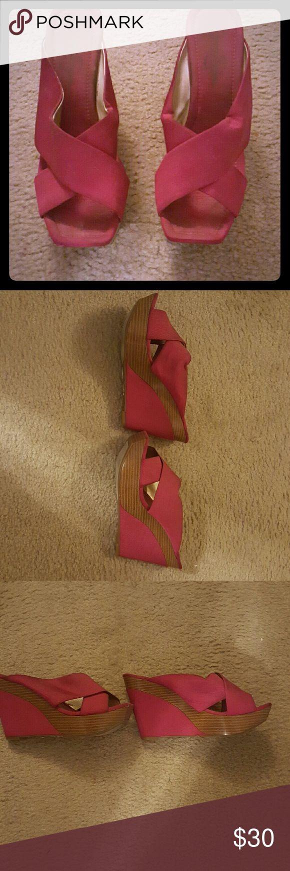 Fuchsia Jessica Simpson Sandal Jessica Simpson wedge sandal. Great shape. Very little wear. Jessica Simpson Shoes Sandals
