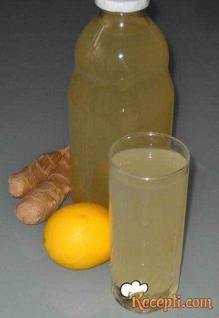 Recept za Sok od đumbira i limuna. Za spremanje soka neophodno je pripremiti đumbir, šećer, limun, vodu.