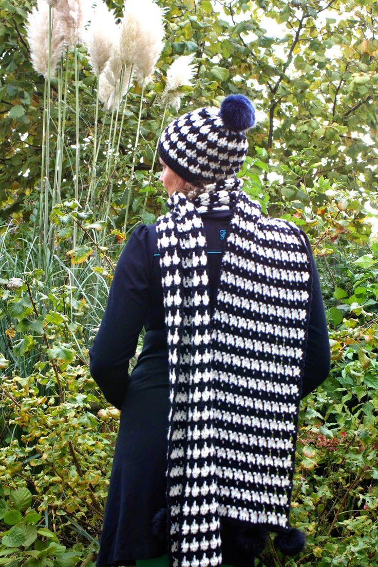 Haken bij Saar en Mien: Pied-de-poule stijl sjaal patroon