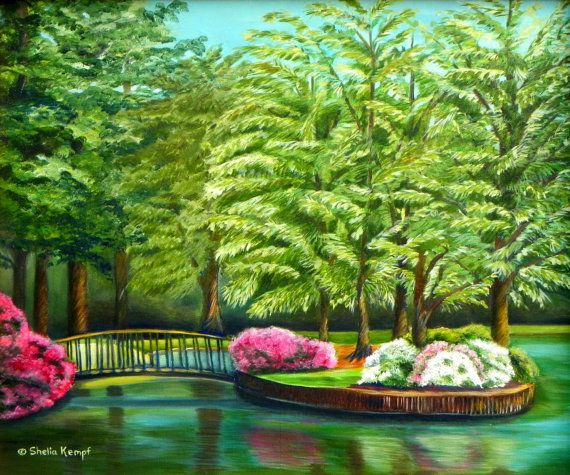 Meredith Lake Meredith College Raleigh NC by SheliaKempfArtWorks, $58.00 Canvas Print