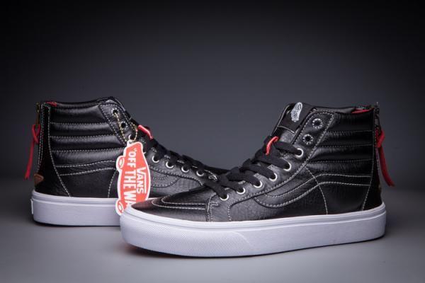 Vans Premium Leather SK8Hi Zip Slim Classics Black White Mens Shoes Free Shipping