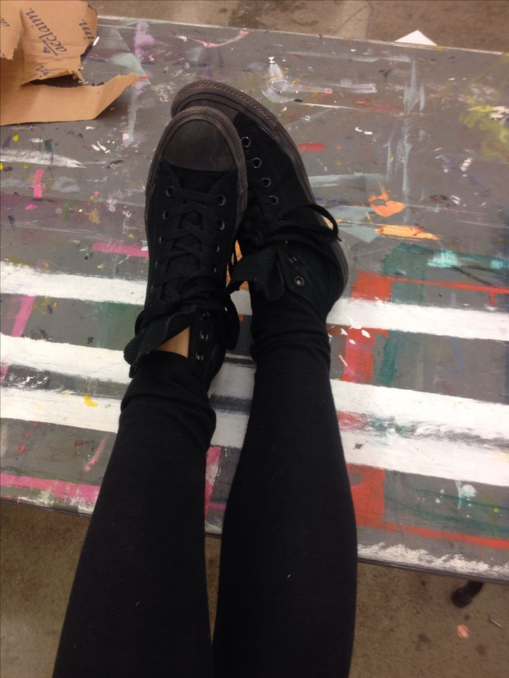 All black high top converse chuck Taylor's