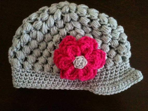 Flower Puff stitch newsboy beanie Crochet Ideas Pinterest