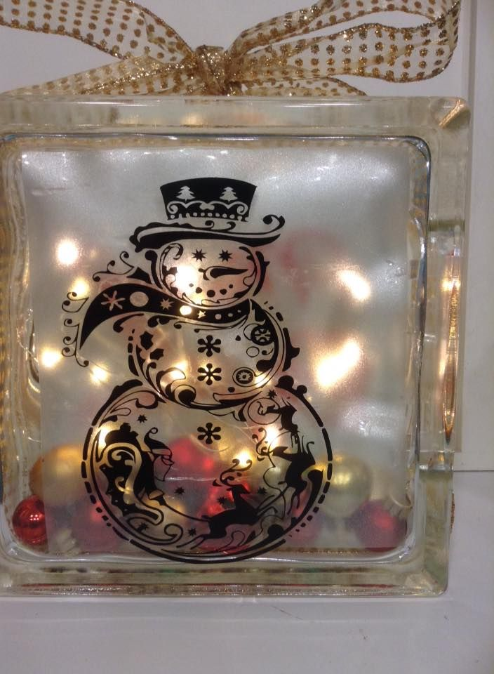Snowman glass block with ornaments inside