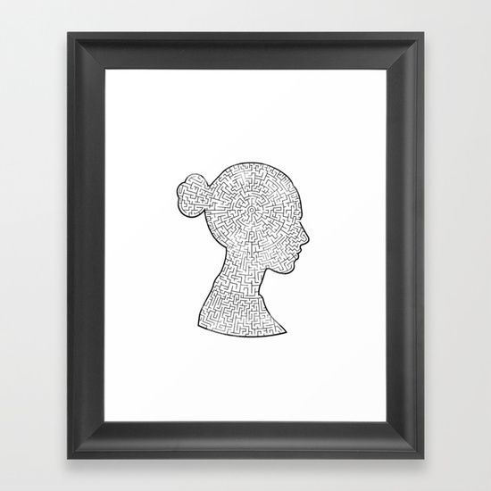 Mind Maze Portrait Framed Art Print