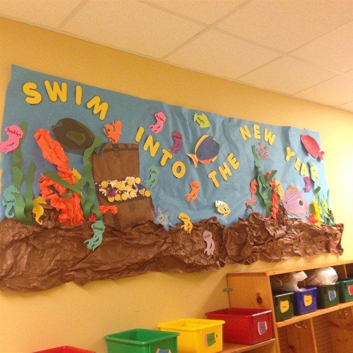 Fun back-to-school ocean themed bulletin board idea. Check out more bulletin boards here --> http://www.mpmschoolsupplies.com/ideas/7165/swim-into-the-new-year-bulletin-board-idea/