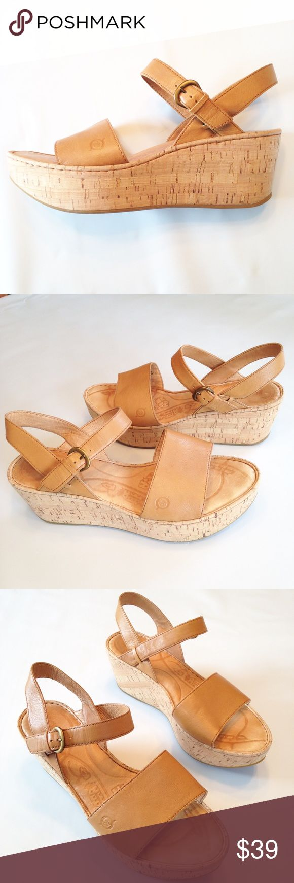 Born 9 Platform Leather Sandal Camel Brown EUC Born 9 Platform Leather Sandal Camel Brown EUC. Adjustable strap with buckle at ankle. Almost no sign of wear, as pictured. Leather upper & lining make this a comfortable quality shoe. Born Shoes Platforms