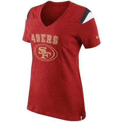 Nike San Francisco 49ers Ladies Fan Top V-Neck T-Shirt - Scarlet