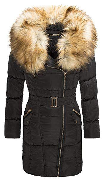 bd995c81e208d0 Damen Winter Jacke Stepp Mantel Parka Coat Fellkragen Outdoor Daunenlook  Schwarz D-118 S-