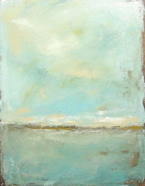 Resumen de mar pintura  verde azul del mar 11 x 14 por lindadonohue