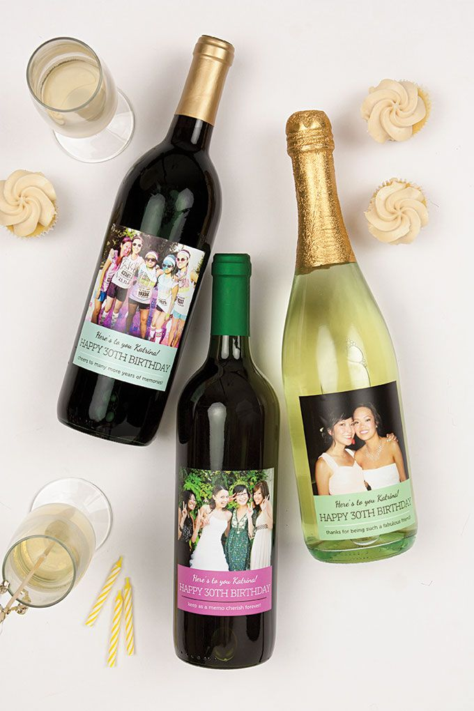 Milestone Birthday Wine with photo labels from Evermine {www.evermine.com}