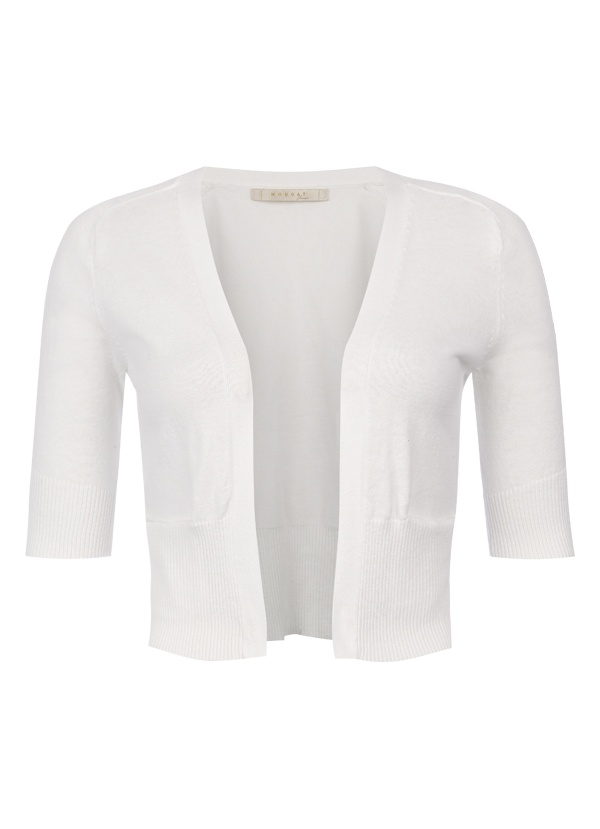 Cropped Cotton Cardigan in White