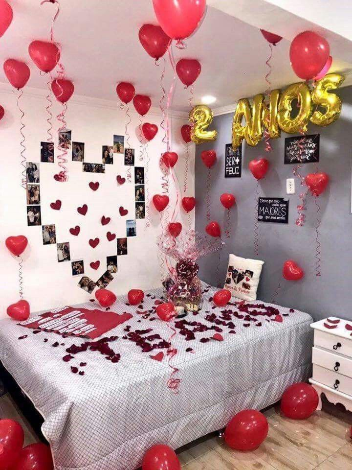 Create A Romantic Valentine S Day Bedroom Using Your 5 Senses Fun Home Design Birthday Surprise Boyfriend Birthday Surprise Party Anniversary Boyfriend