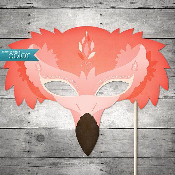 DIY druckbare Flamingo-Maske - Karneval, Geburtstag, Maskenball, Hochzeiten oder Halloween
