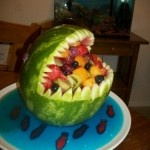 Shark Fruit Bowl! Looks good, taste even better: Shark Watermelon, Fruits Basket, Fruit Idea, Recipe, Fruit Bowls, Food Ideas, Watermelon Fruit Baskets, Party Ideas