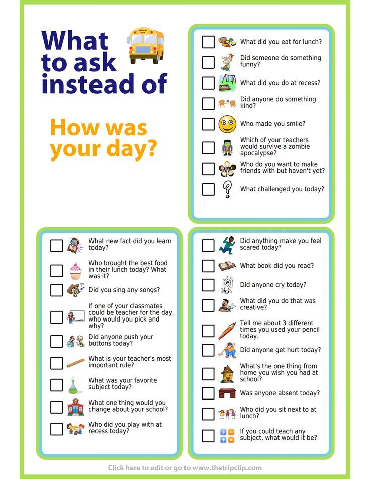 Free Printable: Instead Of 'How Was Your Day?' – Erziehung / Parenting
