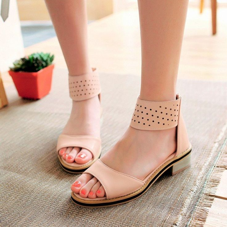 Ankle Wrap Zipper Women Gladiator Sandals Low Chunky Heel 7940