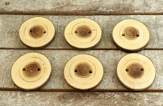 Wood Buttons  Handmade Wood Buttons  6 Large by PebblesAndWoods