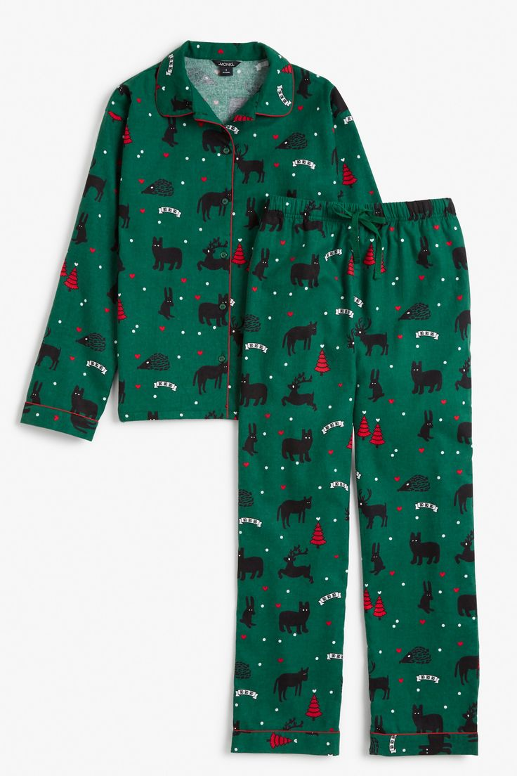 Monki Image 1 of Flannel pyjama set in Green Dark