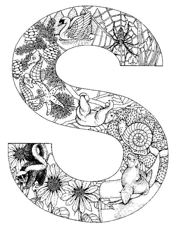 Coloring pages animals alphabet 33...It would be fun to cut letters,or other shapes,out of wood and woodburn the doodles inside the shape!