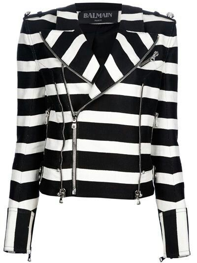Black and white striped balmain jacket #style