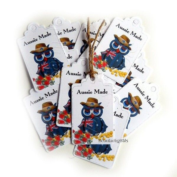 50 Aussie Made Owl Small Swing Tags for Business or Gift Giving