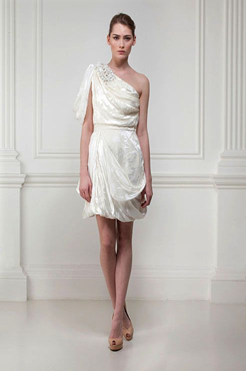 Short one-shoulder draped wedding dress by Matthew Williamson, Spring 2012